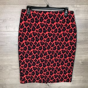 The Limited Womens Pencil Skirt Red Blue Cheetah